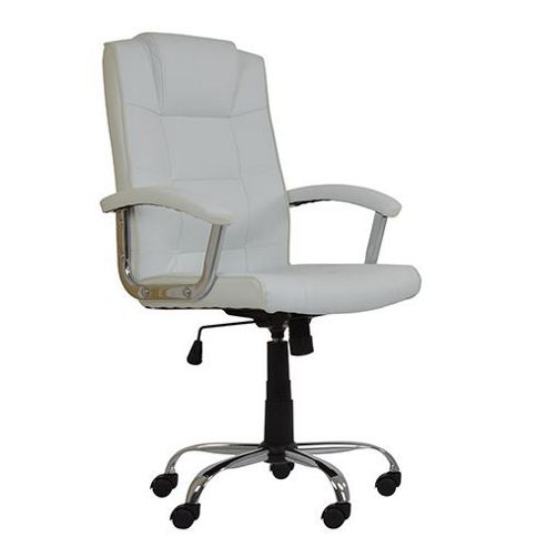 buy stratos white faux leather office chair from our