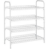 Rack - 4 Tier / 12 Pair Metal Shoe Storage Shelf - White
