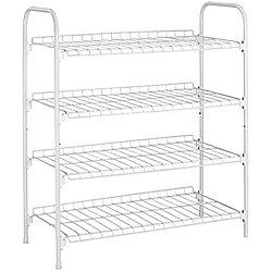 Rack - 4 Tier / 12 Pair Metal Shoe Storage Shelf - White