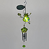 Garden Glows Solar Powered Green Glass Frog with Lily Pad Wind Chime