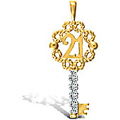 Jewelco London 9ct Solid Gold CZ set 21 Key Pendant,a perfect gift for that special milestone birthday!