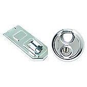 Sterling 70mm Disc Padlock and 120mm Hasp & Staple
