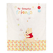 Obaby Disney Winnie the Pooh Crib/Moses Basket Fleece Blanket in White - White
