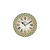 Smith & Taylor French Check Sage Round Wall Clock