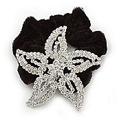 Large Rhodium Plated Swarovski Crystal 'Star' Pony Tail Black Hair Scrunchie - Clea