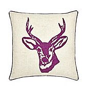Catherine Lansfield Home Cosy Corner Stags Head Mulberry Cushion Cover