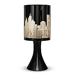 New York Skyline Touch Table Lamp in Gloss Black