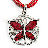 Bright Red Enamel Cotton Cord Butterfly Pendant Necklace (Silver Tone) - 40cm Length