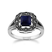 Gemondo 925 Sterling Silver 0.58ct Lapis Lazuli & Marcasite Art Deco Ring