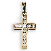 Jewelco London 18 Carat Yellow Gold 44pts Diamond Cross