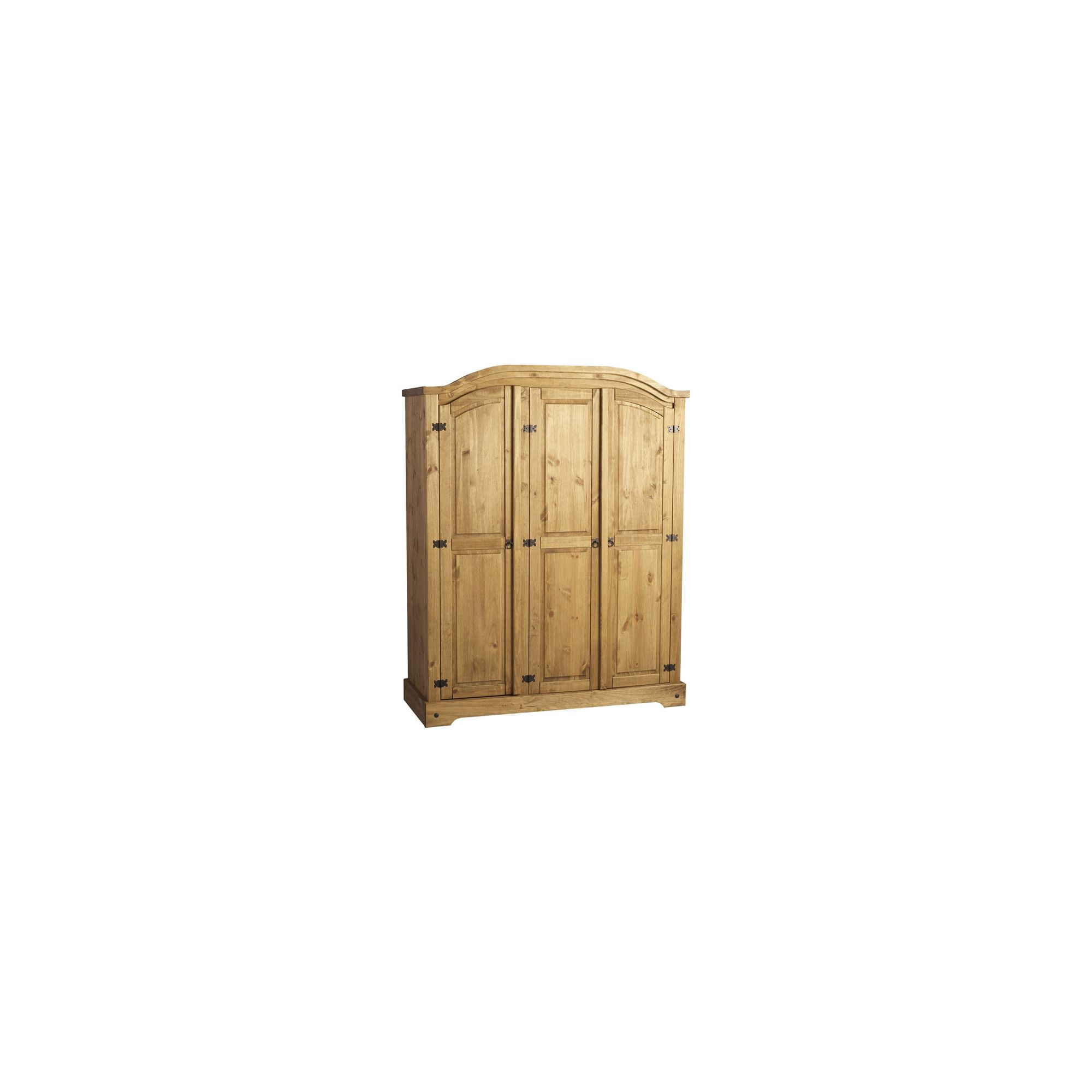 Home Essence Corona Three Door Wardrobe in Distressed Waxed Pine at Tesco Direct