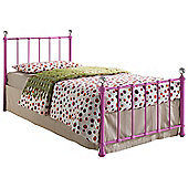 Jessica 90cm 3' single pink metal bed frame with crystal finials