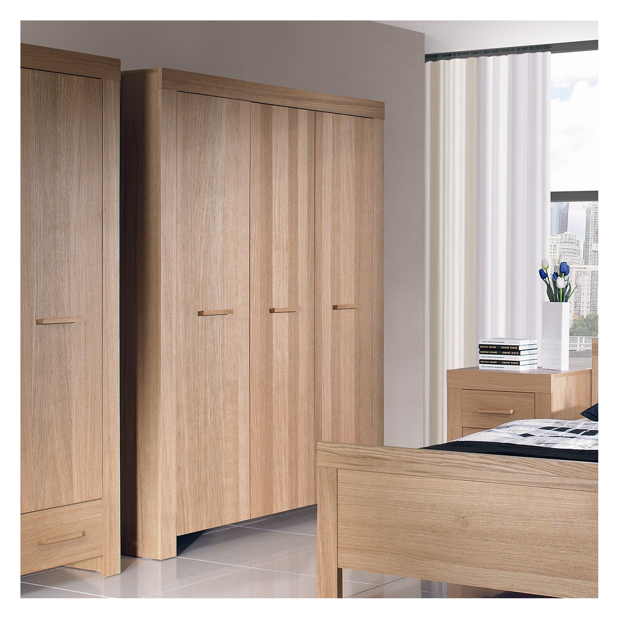 Urbane Designs Jive 3 Door Wardrobe in Oak at Tesco Direct