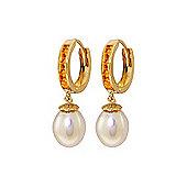 QP Jewellers Citrine & Pearl Drop Huggie Earrings in 14K Gold