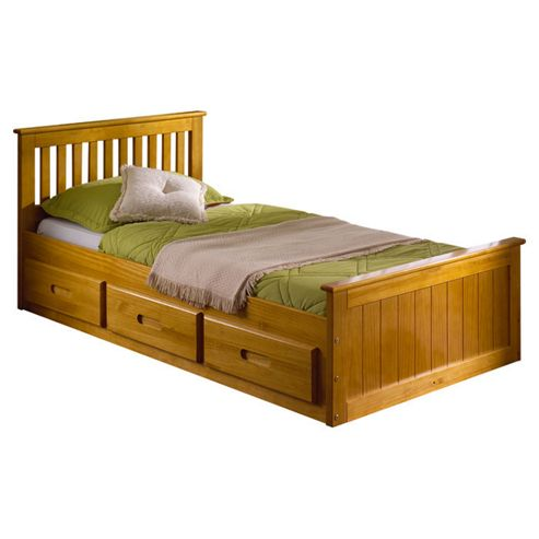 Amani Pine Mission Single Storage Bed Frame - Honey