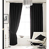 Catherine Lansfield Home Plain Faux Silk Curtains 90x90 (229x229cm) - INK - Tie backs included