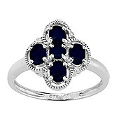 Gemondo Sterling Silver 0.97ct Natural Blue Sapphire & 1.6pt Diamond Cluster Style Ring