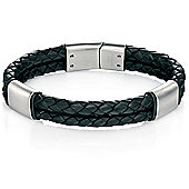 Mens Fred Bennett Black Leather Bracelet with Brushed Steel