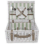 White Stripe Picnic Basket - 2 Person