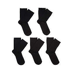 F&F 5 Pair Pack of Fresh Feel Socks with Bamboo One Size Black