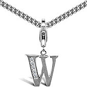 Jewelco London Sterling Silver Cubic Zirconia Identity Pendant - Initial W - 18inch Chain