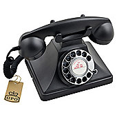 Protelx GPO 200 Single Corded Retro Rotary Dial Telephone , Black