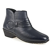 Pavers Leather Ankle Boot with Gathered Strap - Blue