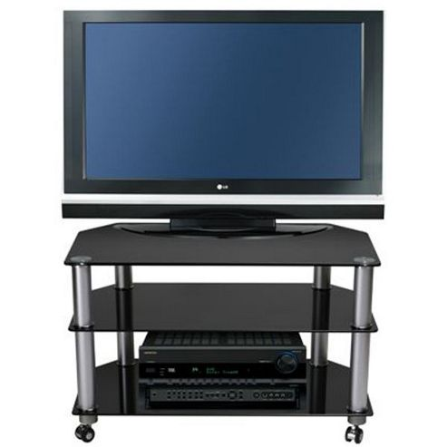 Stil Stand STUK 1401 Black Glass TV Stand with Castors