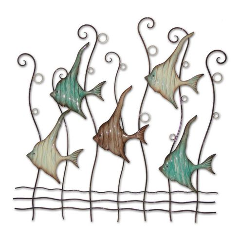 Novus Imports Angel Fish School Metal Wall Art