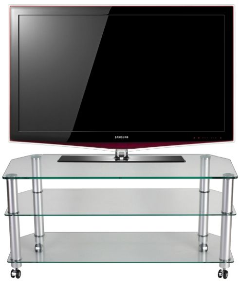 STUK 1402 Mellan Clear Glass TV Stand with Castors