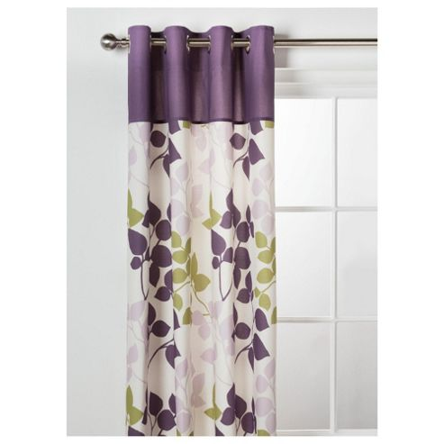 Tesco Bold Leaf Print Unlined Eyelet Curtains W168xL229cm (66x90
