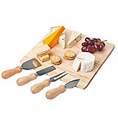 Wooden Cheese Board with 4 Specialist Cheese Knives by Occasion