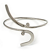 Rhodium Plated 'Zig-Zag' Armlet Bangle