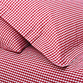Gingham Duvet Cover Set - Red
