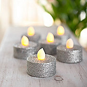 Set of 6 Silver Glitter Battery LED Tea Lights