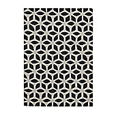 Think Rugs Fusion Black/Cream Tufted Rug - 120 cm x 170 cm (3 ft 9 in x 5 ft 7 in)