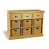 Ultimum Somerset Oak Sideboard 3 Drawers 6 Baskets