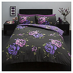 Large Scale Floral Print Single Duvet Set, Black