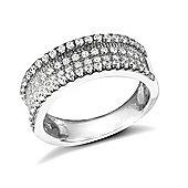 Rhodium Coated Sterling Silver Gemstone Ring