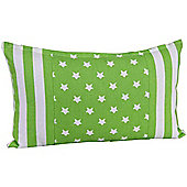 Homescapes Cotton Green Stripe Border and Stars Scatter Cushion, 30 x 50 cm