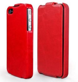 U-bop Neo-ORBIT Leather Flip Case - Apple iPhone 4 (Chesterfield Red) Metal Buckle. SuperSlim Vertical Design. Superior Microfiber lining.