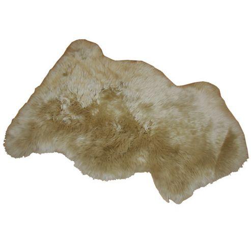 Bowron Sheepskin Long Wool Gold Star Rug in Stone - 95cm H x 57cm W (One Piece)