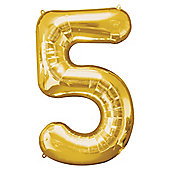 """Gold Number 5 Balloon - 34"""" Foil"""