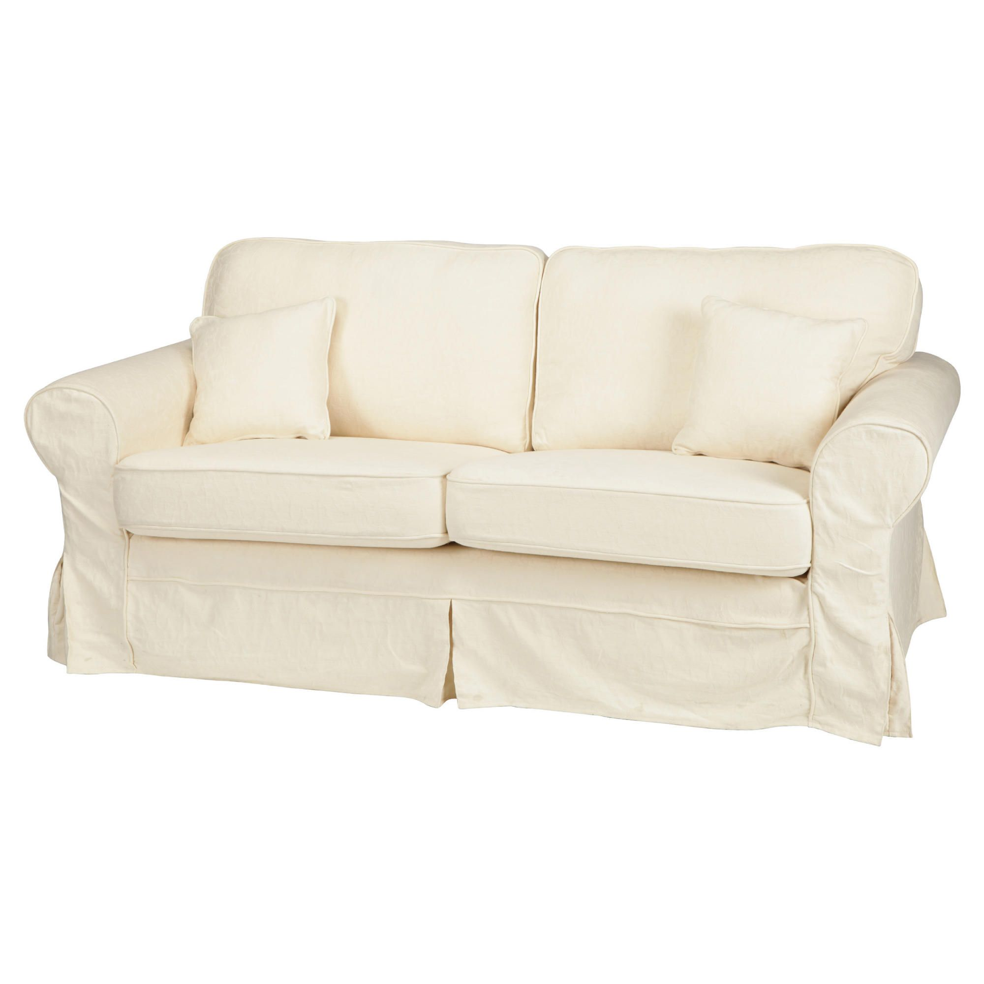 Sofas Loose Covers: LOUISA SMALL LOOSE COVER FABRIC SOFA CREAM