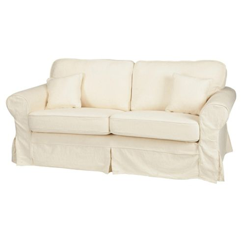Louisa Small Loose Cover Fabric Sofa, Cream Jaquard
