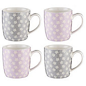 Tesco Ditsy Floral 4 Pack Mugs