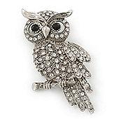 Clear Swarovski Crystal 'Owl' Brooch In Rhodium Plating - 60mm Length
