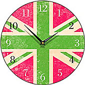 Smith & Taylor Union Jack Round Wall Clock in Green and Pink