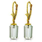 QP Jewellers 9.0ct Green Amethyst Facile Earrings in 14K Gold
