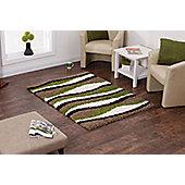 Oriental Carpets & Rugs Vista Beige/Green Shaggy Rug - 60 cm x 120 cm (2 ft x 4 ft)